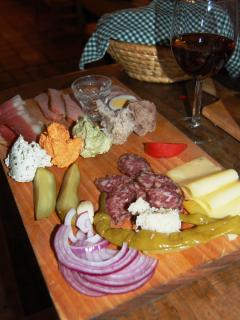 Meat platter at Jani's Vinotoc (5 mins walk)