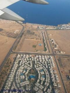 Ariel view of Delta sharm on approach to airport