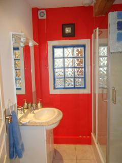 Shower room with Jack and Jill entrance doors
