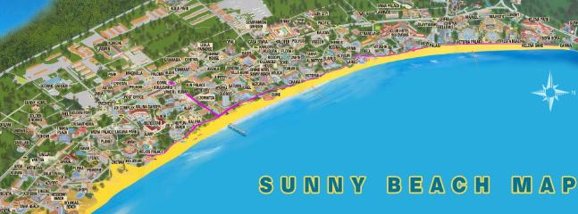 Map of Sunny Beach - Royal Beach Barcelo is right in the heart of Sunny Beach resort!