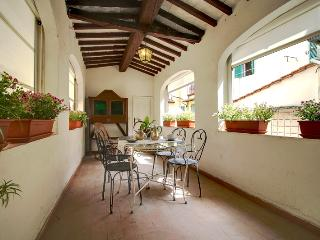 Delightful Tuscan-style apartment in the very heart of Florence with charming covered terrace, sleeps up to 5