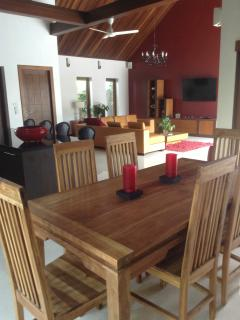 Dining area looking through to the open plan living area