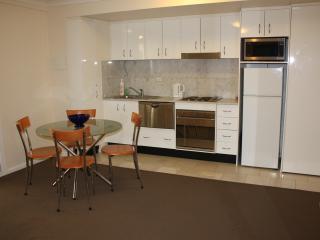 Full kitchen with oven, stove, dishwasher, fridge and freezer