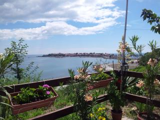 A restaurant in New Nessebar overlooking the UNESCO island village of Old Nessebar.