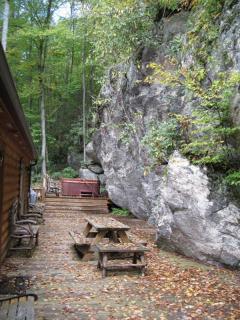 Rock wall and hot tub