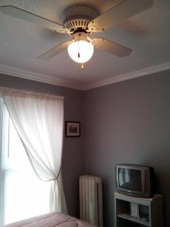The ceiling fan keeps your room cool and fresh