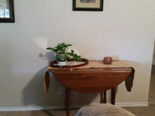 Fold down side table is another area for dinning