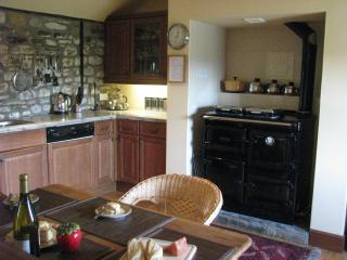 oak kitchen with rayburn stove