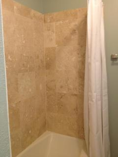 Travertine tiles in the shower
