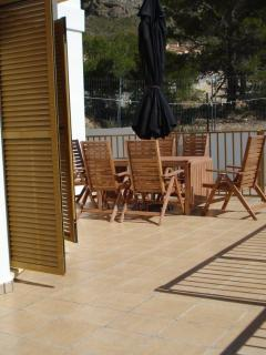 Enjoy the sun baked terraces which are children friendly
