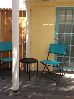 Private side patio off bathroom
