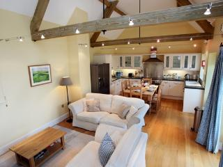 Open plan living area with exposed beams, under floor heating and living flame gas fire