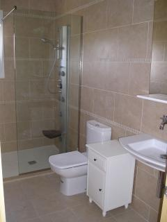 Walk-in shower room with power shower