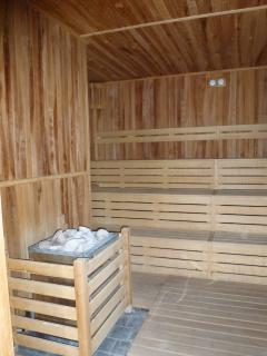 Sauna room near the indoor pool, and changing facilities.
