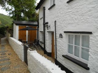 Front of Fishermans Rest looking back up Summerhouse Path, Lynmouth Devon