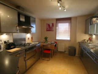 Beautiful stainless steel kitchen with dining area