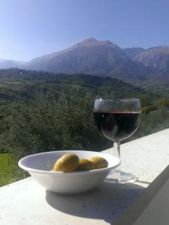 Savour local wine and olives on your balcony or terrace of choice