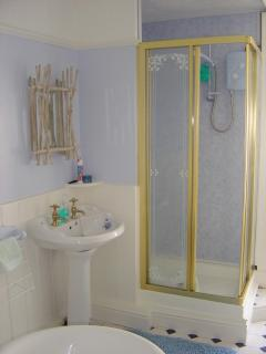 Family bathroom with 1.2m shower cubicle & roll top bath