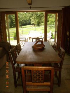 Oak dinning table and chairs with lovely view over the fields