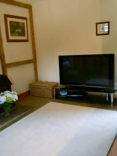 Large flat screen  TV with full sky package for sofa days!