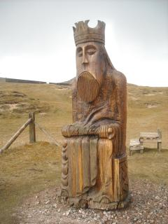 The King at Uig beach - site of the discovery of the world famous Viking chess set