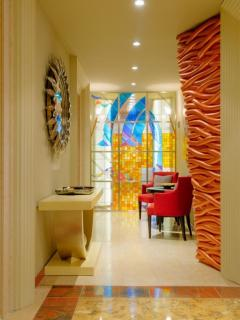 Bright, sunny and colorful foyer