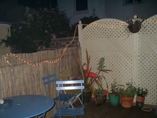 Stanly patio area at night - the flamingoes have flown the nest!