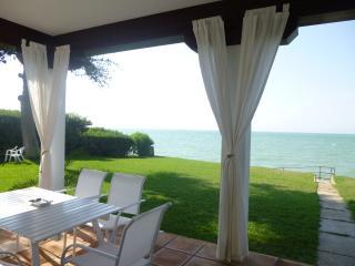 Terraza, jardín y playa