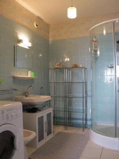 Grande salle de bain avec lavabo, douche, bidet,et lave-linge