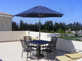 Dining furniture on the private roof terrace