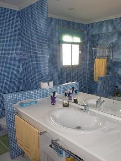Cuarto de baño principal, con espejo panoramico, vista desde la entrada