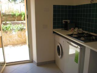 kitchen and door to courtyard