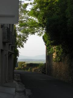 The view from outside the front door looking east