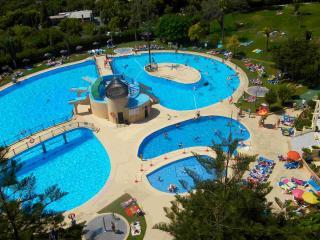 Vista de general de la piscina y chiringuito.