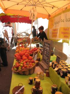 Olonzac market. Along with the market annual local fetes offer onions, cherries, truffles and more.