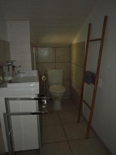 La salle d'eau et wc  commune à la grande chambre et à la petite mansardée