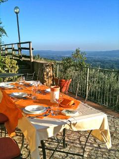 Podere Casarotta - Dinner on the Hayloft terrace at sunset