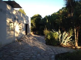 Terrasse devant les deux chambres air conditionnée face au jardin