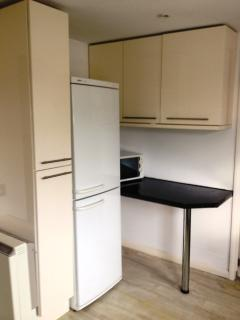 Kitchen showing fridge/freezer