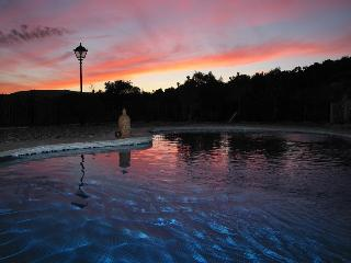 pool under typical sunset