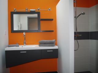 salle de bain attenante à la chambre grise