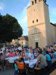 Great night markets are enjoyed in front of Tremolat's 11th Century Church and square
