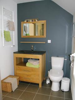 salle de bain attenante à la chambre verte