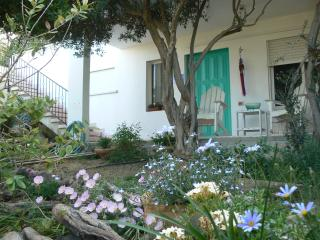Private garden, porch & rocking chairs outside Studio Apt facing the Sea