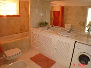 Lovely bathroom with shower andd washing m/c