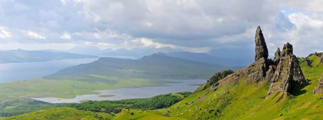 looking from the old man of storr to storr locks 10 minutes drive from the cottage