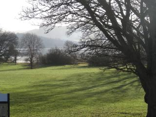 Winter view of Cottage Meadow and Lough Mac Nean from apartment window