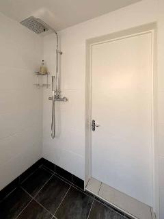 Wetroom with rainfall shower