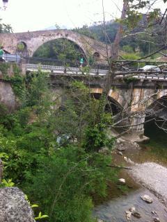 Vista del Puente Romano desde los jardines del apartamento.