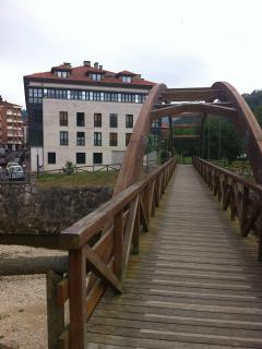 Puente de madera con edificio del apto. al fondo